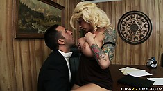 Brooke spreads her long legs wide open to get on her man's lap
