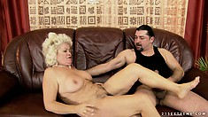 Horny guy can't resist the chance to bang her mature hairy bush and shoot his load