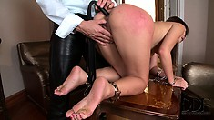 Lovely asian slave gets her sweet ass prepped up by her master