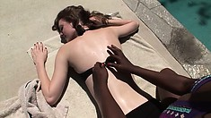 Anne Sky and Chanel Bryant are outside sunbathing and start getting nasty