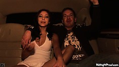 Sexy brunette babe chills in a limo after being fucked senseless
