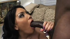 Delightful Latina with splendid tits and a divine ass can't resist a big black cock