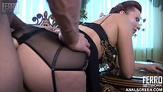 Thick bootied MILF gets fucked wearing a garter belt and stockings