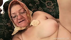 Busty granny gets her aged cunt slammed by a young hard cock