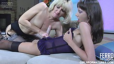 Sexy Amelia B plows her voluptuous girlfriend Florence A with a strap-on