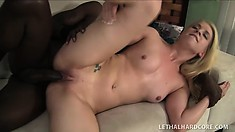 Desirable blonde with perky tits wants to have a huge black cock drilling her twat