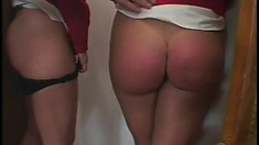 Naughty blonde schoolgirl gets a mean spanking from her principal