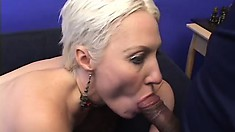 Shorthaired blond momma loves getting her ass fucked while sucking cock