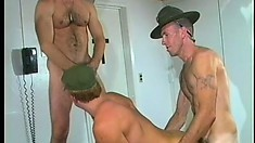 Ripped sergeant thrusts his stiff prick in young soldier's tight asshole