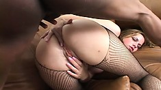 Nasty young babe with a slim body Nadia Sin loves black cock and rough anal action