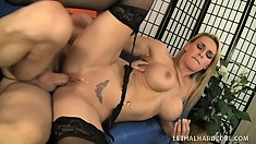 MILF Tanya Tate licks his hairy ass, sucks his young meat and rides him hard