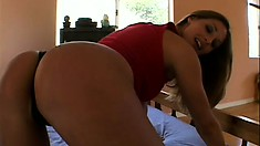 Sweet brunette gets into her first hot interracial threesome