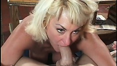 Dana Hayes is a sexy granny getting her mouth and pussy filled