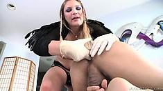 Blonde cutie Aurora Snow bangs Gabriel D'Alessandro's ass with a sex toy