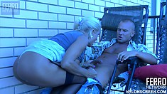 Busty blonde Hannah gets her tits groped and tight pussy penetrated
