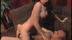 Wild brunette Victoria has a big dildo and a hard cock drilling her ass