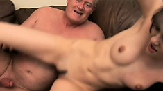 Cute young brunette Sasha Grey has two horny old guys fucking her twat