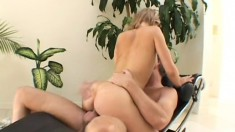 Sweet young blonde slut gets her pussy filled by his big cock