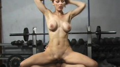 Stacked redhead has a hung stud roughly drilling her holes in the gym