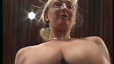 Busty mature lady slides a dick in her mouth and then gets fucked deep