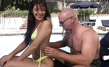 Yummy young brunette with small boobies gets fucked by a bald guy